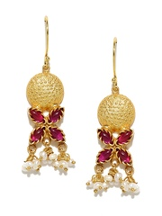Fabindia Anusuya Gold-Plated & Pink Drop Earrings
