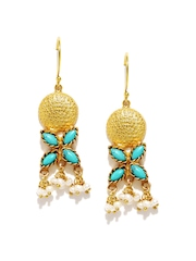 Fabindia Anusuya Gold-Plated Silver & Turquoise Blue Drop Earrings