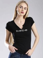 bebe Black Embellished Branding T-shirt