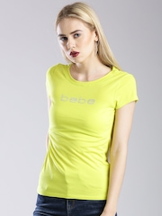 bebe Lime Green Embellished Branding T-shirt
