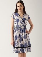 DressBerry Off-White & Blue Floral Print Fit & Flare Dress