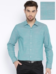 Peter England Blue & Peach-Coloured Slim Fit Formal Shirt