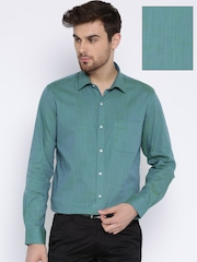 Peter England Blue & Green Two-Toned Slim Formal Shirt