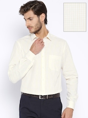 Peter England Beige Checked Slim Fit Formal Shirt