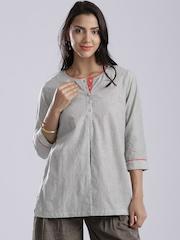 Fabindia Grey Melange & White Striped Kurti