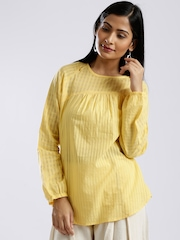Fabindia Yellow Self-Checked Self-Striped Semi-Sheer Handloom Kurti