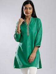 Fabindia Green Silk Cotton Hand Embroidered Kurti