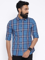 Jack & Jones Blue Checked Slim Fit Casual Shirt