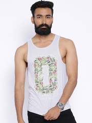 Jack & Jones Grey Melange Printed Sleeveless T-shirt