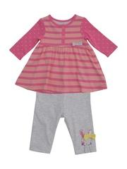 mothercare Girls Pink & Grey Clothing Set