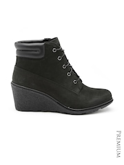 Timberland Women Black Leather Heeled Boots