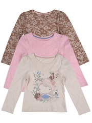 mothercare Girls Pack of 3 T-shirts