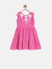 YK Girls Pink Embellished Lace Fit & Flare Dress