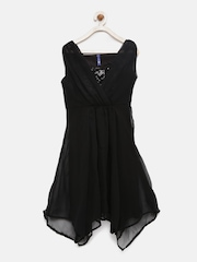 YK Girls Black Sequinned Fit and Flare Dress