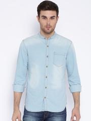 Highlander Blue Slim Washed Denim Casual Shirt