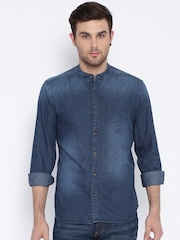 Highlander Navy Slim Washed Denim Casual Shirt