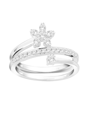 Peora Rhodium-Plated & 925 Sterling Silver Stone-Studded Ring