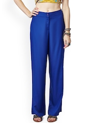 Global Desi Blue Comfort Fit Trousers