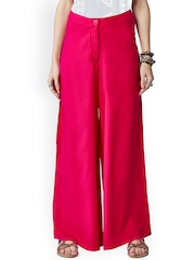Global Desi Pink Comfort Fit Palazzo Trousers