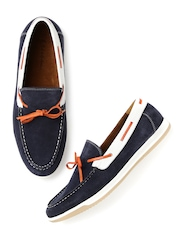 Mast & Harbour Men Navy Leather Boat Shoes
