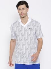 PUMA White & Black Printed Football T-shirt