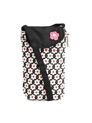 Pick Pocket Women Beige & Black Floral Print Mobile Pouch