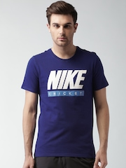 Nike Blue SS Verbiage Printed Cricket T-shirt