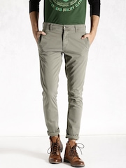Roadster Grey Casual Trousers