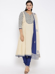 Rain & Rainbow Cream-Coloured & Blue Anarkali Churidar Kurta with Dupatta