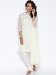 Trishaa by Pantaloons Off-White Embroidered Slawar Suit with Dupatta