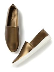 DressBerry Women Bronze-Toned Loafers