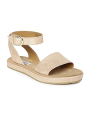 Clarks Women Rose Gold-Toned Shimmery Leather Flats