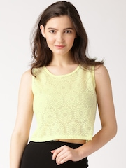 DressBerry Yellow Lace Cropped Top