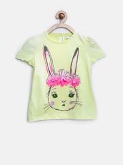 Marks & Spencer Kids Girls Lemon Yellow Pure Cotton Rabbit Print Top