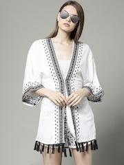 Marks & Spencer White 3/4 Sleeve Embroidered Cover-Up Dress 3080