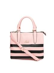 Lavie Pink & Black Striped Handbag
