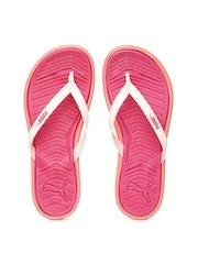 PUMA Women Cream-Coloured & Pink Flip-Flops