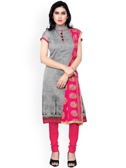 Saree Mall Grey & Pink Embroidered Chanderi Unstitched Dress Material