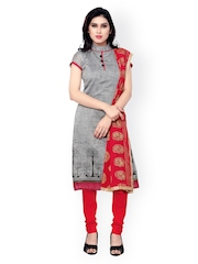 Saree Mall Grey & Maroon Embroidered Chanderi Unstitched Dress Material