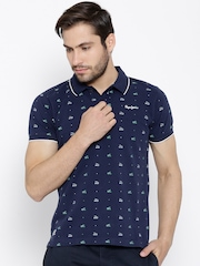 Pepe Jeans Navy Bicycle Print Polo T-shirt