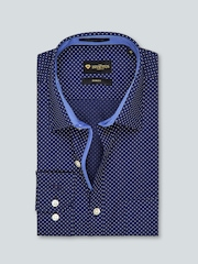 INVICTUS Navy Printed Slim Fit Formal Shirt