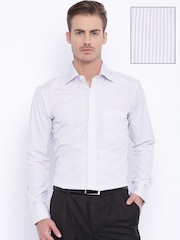 Raymond White Striped Contemporary Fit Casual Shirt