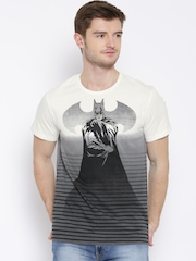 Batman Off-White & Grey Printed T-shirt