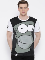 Simpsons Grey & White Graphic Print T-shirt