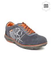 Red Chief Men Navy Genuine Leather Printed Casual Shoes