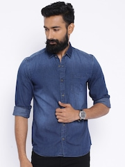 Highlander Blue Slim Fit Denim Shirt