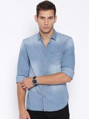 Highlander Blue Denim Slim Casual Shirt
