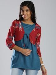 IMARA by Shraddha Kapoor Teal Blue Kurti with Jacket