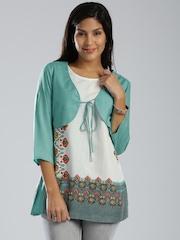IMARA by Shraddha Kapoor White Printed Kurti with Jacket
