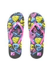 MTV Women Pink & Black Printed Flip-Flops